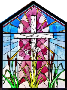 cross stained glass window